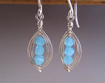 Faceted Blue Glass Pod Earrings