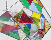 Multi Color Stained Glass Abstract Panel Suncatcher