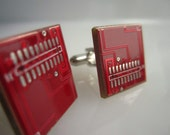 Dashing Red Upcycled Computer Circuit Board Cuff Links