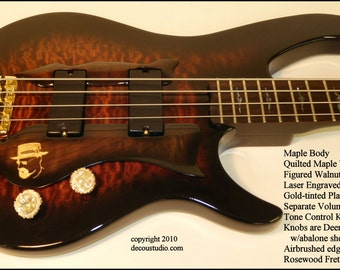 In-Stock, FREE USA Immediate SHIPPING Custom Electric Bass Guitar Four string Dual pickups antler burl walnut quilted maple abalone gold