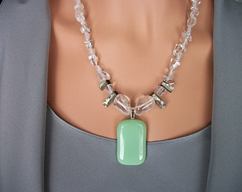 Stone Necklace With Clear Quartz Stone and Abalone Shell with Fused Jade Green Glass Pendant NSDN14C - Free Shipping In the USA