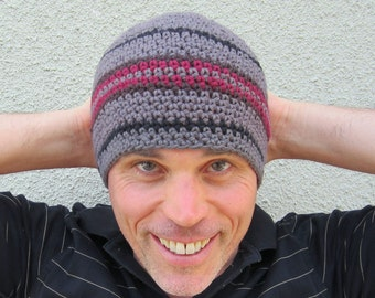men's cotton beanie/ charcoal brown crochet