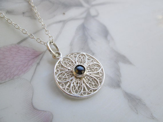 Lacy Floral Sterling Silver Filigree, Black Swarovski Crystal