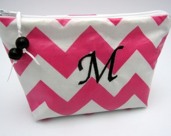 Makeup Bag - Cosmetic Case - Monogrammed and Wipeable - Pink Chevron Zig Zag with Black Accents