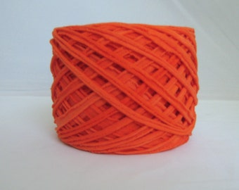 T Shirt Yarn Hand Dyed-  Red Orange 60 Yards
