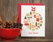 Holiday Christmas Greeting Card - Ornament Collage Illustrated Recycled Paper Box Set