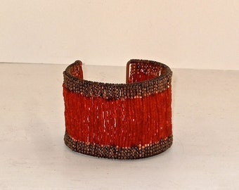 Red Glass and Copper Bead Cuff Bracelet - Chunky Cuff
