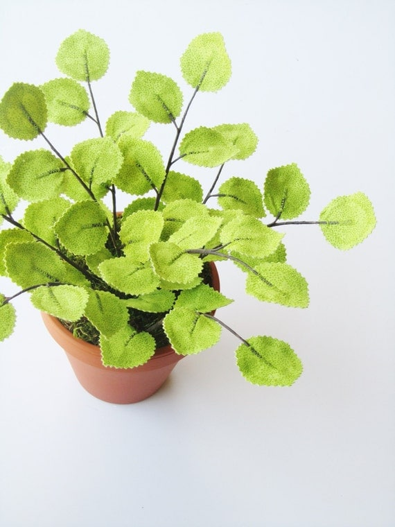 Fabric Leaf Potted Ivy Plant Large Lime Green Print By