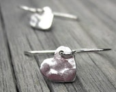 Tiny Silver Heart Earrings Sterling Silver Hammered Heart Earings Small Dangle Valentines