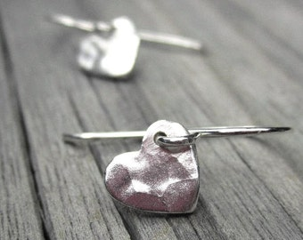Tiny Silver Heart Earrings Sterling Silver Hammered Heart Earings Small Dangle Mothers Day
