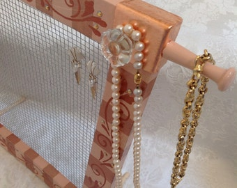 Standing Jewelry Screen Organizer, Hand Painted, Copper and Peach
