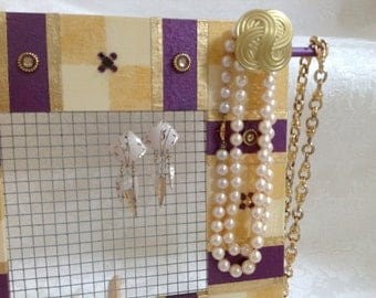 Jewelry Screen Frame, Standing, Hand Painted in Purple Plum and Gold AW