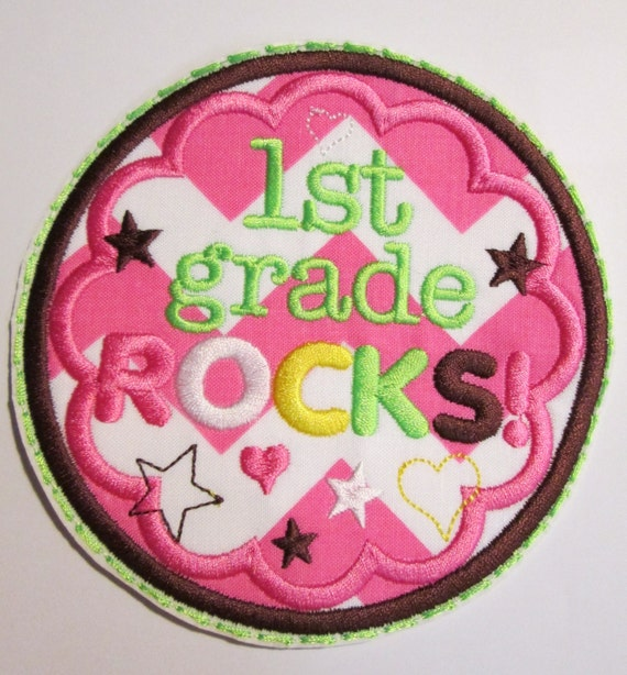 Iron On Applique - My Grade Rocks - Includes 1st through 6th Grade, PreKinder, PreSchool and HomeSchool