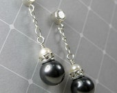 Black Pearl Earrings, Bridesmaid Black Wedding Jewelry, Handmade Bridal Party Pearl Dangle Earrings, Cubic Zirconia Posts, Sterling Silver