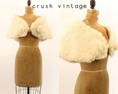 50s Fur Wrap All Sizes  / 1950s Shawl Rabbit Fur Stole /  The Cleo Cape