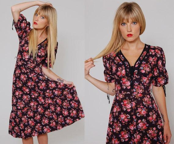 Vintage FLORAL Prairie Dress Black & Pink DITZY Floral Corset Peasant Midi Dress Hippie Dress XS/S