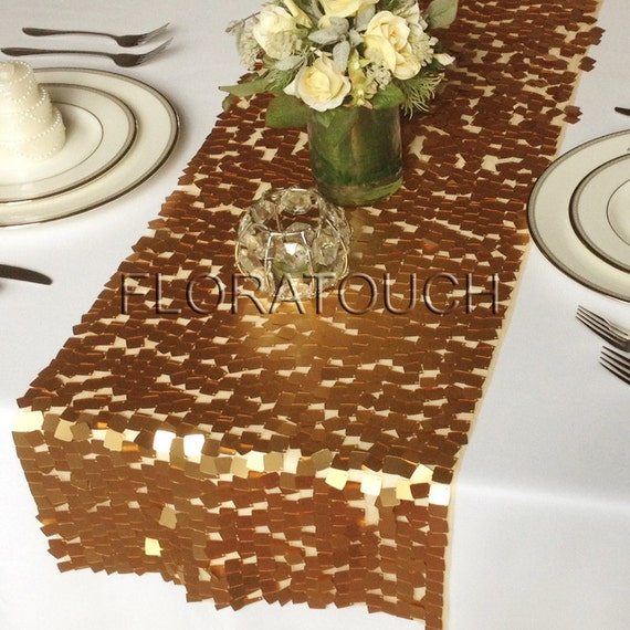 Gold dazzle square sequin table runner wedding table by for 12 ft table runner
