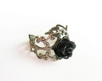 Black Rose Ring  - Gunmetal Filigree Ring with Small Shiny Black Lucite Rose, Adjustable