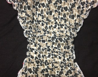 MamaBear One Size Fitted Cloth T-Shirt Diaper, Pin or Snappi Closures - Wild Thing Leopard Print