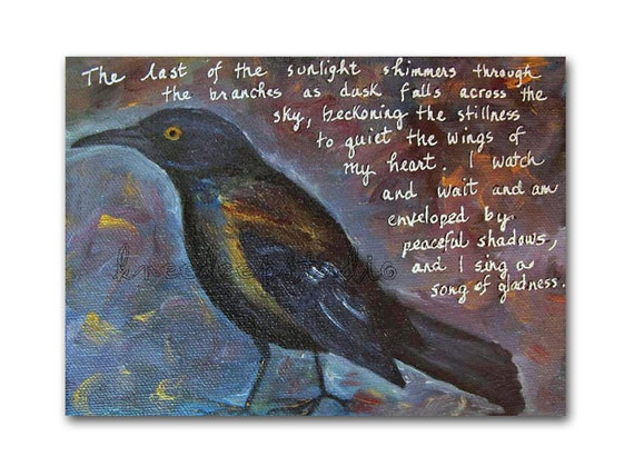 RESERVED for Jennifer Black Bird painting 5x7 fine art oil on canvas original poetry crow raven grackle blue dusk shimmery modern rustic