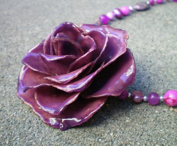 Free Shipping REAL Purple, Radiant Orchid ROSE and Agate, Jade and Pearls Sterling Silver Statement Necklace