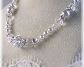 New Swarovski White Pearl/Crystal Graduated Necklace
