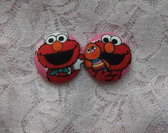 Set of 4 1 1/4 inch Fabric Buttons - Cute Elmo Fabric Buttons