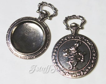 5 pieces - Pocket watch shaped frames (Antique Silver)  Inner size: 33mm