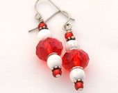 Red Crystal and White Howlite Stone Earrings - Made for Sensitive Ears