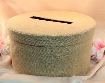 Burlap Wedding Card Box with Optional Bow and Rhinestone Accent...You Choose the Colors.