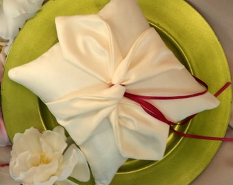 Knottie Ring Bearer Pillow...You Choose the Colors....Buy One Get One HALF OFF..shown in ivory/ivory/hot pink fuschia ties
