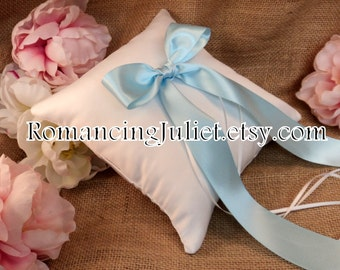 Simple Elegance Luxe Bow Ring Bearer Pillow...You Choose Your Colors..Buy One Get One Half Off..shown in white/light blue