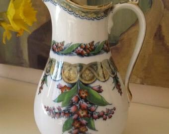 Victorian Pitcher Vase Porcelain Lily Pattern by H.W. Lusterware Trim