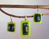SALE! Fused Dichroic Glass Swirl Chartreuse Pendant and Earring Set