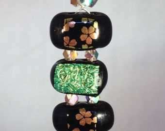 Fused Flower Dichroic Glass and Crystal Beads Pendant