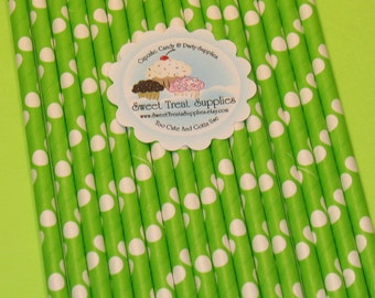 Solid Lime Green and White Polka Dot Paper Straws With DIY Flag Toppers  (25)