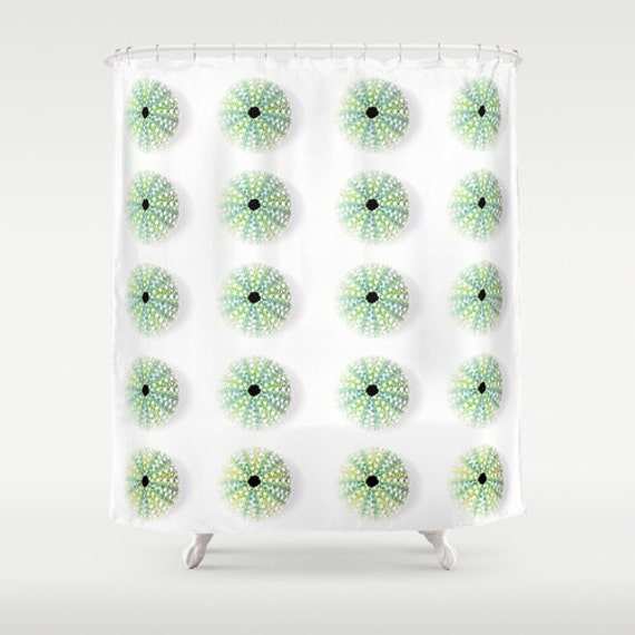 Items Similar To Beach Shower Curtain Sea Urchin Shell Shower Curtain Decor Beach Theme Green