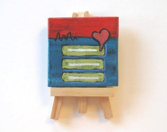 SALE, Red and Turquoise Abstract Miniature Painting, Original acrylic on a mini canvas
