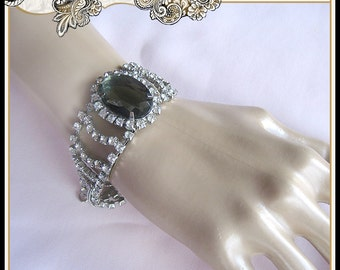 REDUCED Vintage 1950s Clear Rhinestone with Black Center Crystal Bracelet Wedding Christmas Gift