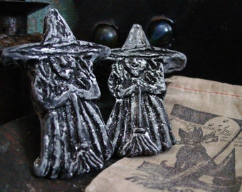 Halloween Witch (Pair) Blackened Beeswax Scented Wax Melts, Primitive Halloween Decor, Witch Ornaments, Halloween Party Favors, Decorations