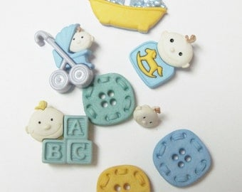 Baby Fun Boy Buttons Set of 8 Pieces