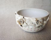 Bowl in white with rosee and leaves and pink dots -MADE TO ORDER -  Handmade Ceramics  - Stoneware -