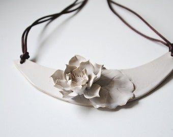 Stoneware Necklace waterlily - Ninfea Necklace - Statement Necklace