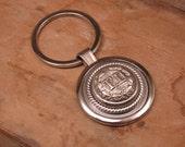 Firefighter Jewelry - Vintage Silver FD Fireman Uniform Coat Button Silver Key Ring - Remembering 911