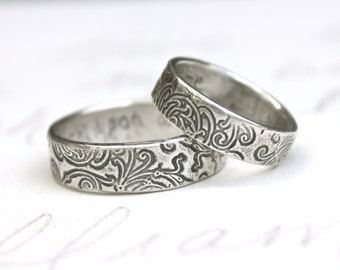 recycled silver wedding band set . engraved once upon a time ring . recycled silver swirl wedding ring set by peacesofindigo