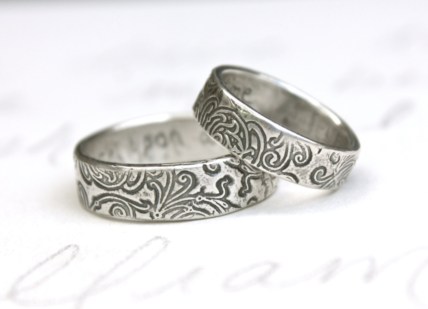 Recycled Silver Wedding Band Set Engraved Once Upon A Time
