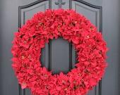 Poinsettia Wreath, Mini Red Poinsettias, Christmas Wreath, Holiday Wreath, Holidays, Winter Wreaths