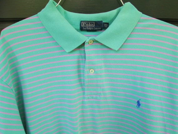 Ralph Lauren Polo Shirt Vintage Mens XXL Polo Shirt Teal Pink Striped Preppy RL Shirt Aqua Knit Extra Large RL Polo Prep Back to School xxl