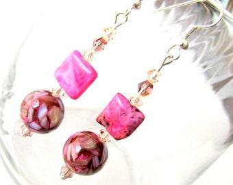Charming Pink Drop Earrings
