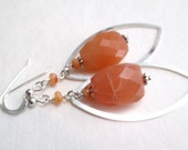 Peach Sweet Tea, peach moonstone and sterling earrings
